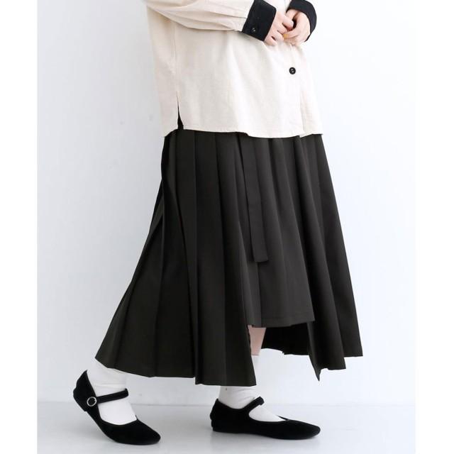 メルロー merlot アシメプリーツラップスカート (ブラック)