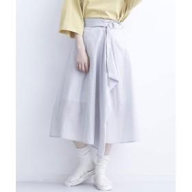 メルロー merlot リングベルト付きグレンチェック柄スカート (ブルーグレー)