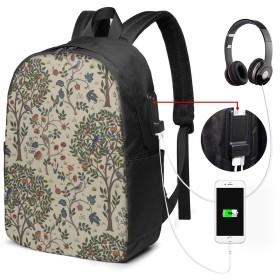 鳥 木 模様 淡雅 17インチ USB充電ポート付き 季節新品 通学 通勤 出張 旅行 多機能 メンズ レディース 大容量 黒 アウトドアリュック 登山リュック 調節可能なショルダーストラップ