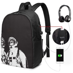 ネコ 宇宙飛行士 17インチ USB充電ポート付き 季節新品 通学 通勤 出張 旅行 多機能 メンズ レディース 大容量 黒 アウトドアリュック 登山リュック 調節可能なショルダーストラップ