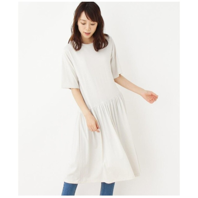 【42(LL)WEB限定サイズ】スランティングギャザーTシャツワンピース