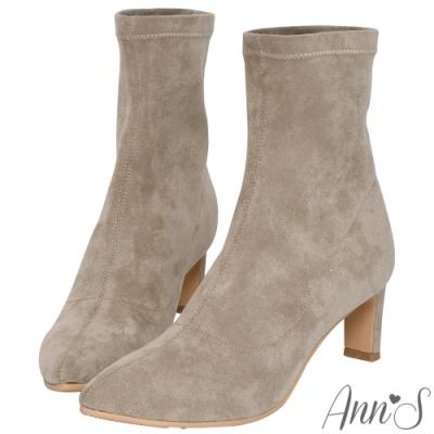 Ann'S  慾望巴黎 防水絨布貼腿直跟襪靴  杏
