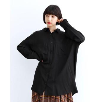 メルロー merlot オーバーサイズとろみシャツ (ブラック)