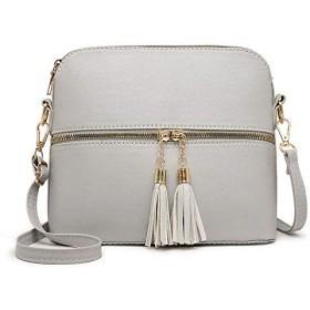 女性の小さなクロスオーバーボディメッセンジャーバッグレディース革ショルダーハンドバッグ財布 (グレー)