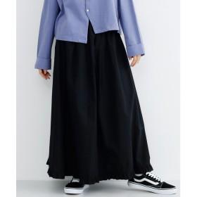 メルロー merlot フリルヘムギャザースカート (ブラック)