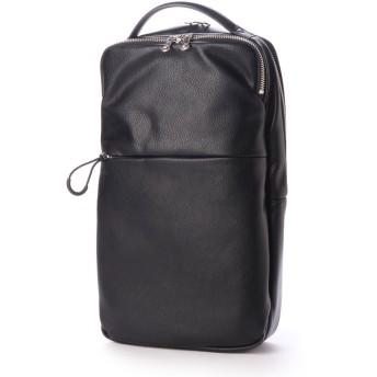 オティアス Otias アンティークレザータイプ合皮Bizボディバッグ/ワンショルダーバッグ (ブラック)