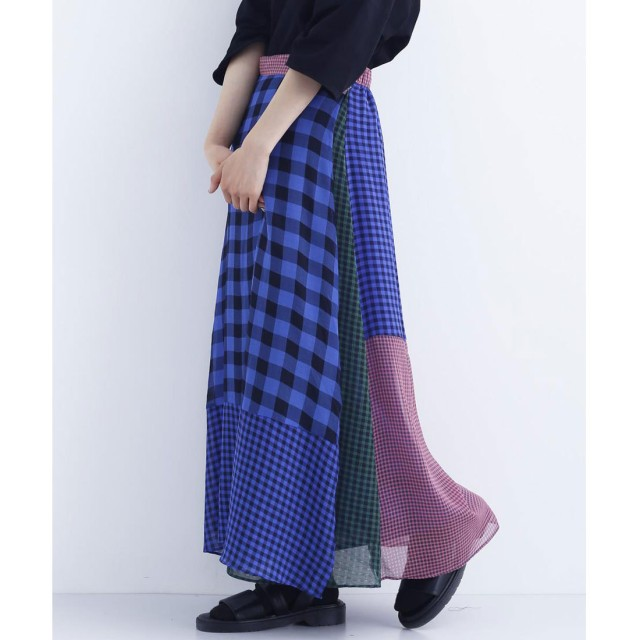 メルロー merlot チェック柄ドッキングラップスカート (ブルー)