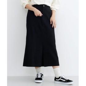 メルロー merlot スリットAラインスカート (ブラック)