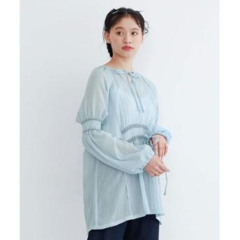メルロー merlot 刺繍シャーリングチュニック (ライトブルー)