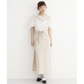メルロー merlot 【merlot plus】ワンショルダーサスペンダーラップスカート (ベージュ)