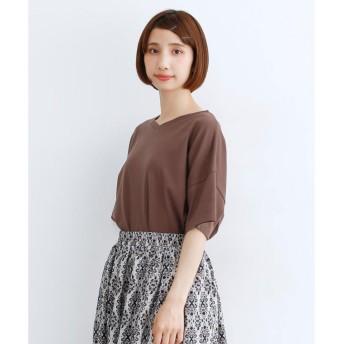 メルロー merlot サイドスリットVネックシンプルTシャツ (ブラウン)