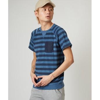 【improves:トップス】ナイロンポケット付きインディゴパイル半袖Tシャツ