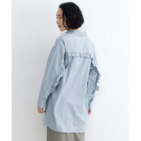 メルロー merlot バックフリルヨークオーバーシャツ (ブルー)