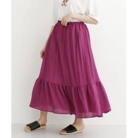 メルロー merlot ティアードギャザーロングスカート (ピンク)