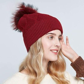 HASUKUN 帽子ビーニー女性のための冬の帽子ポンポンハット女性のファッションのための暖かいだらしないビーニー女性の帽子