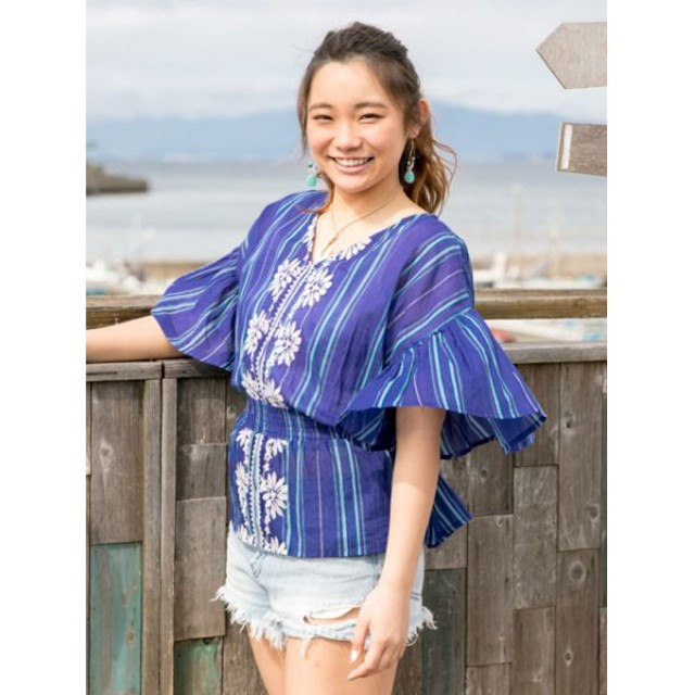 【Kahiko】花刺繍リボンブラウス ネイビー