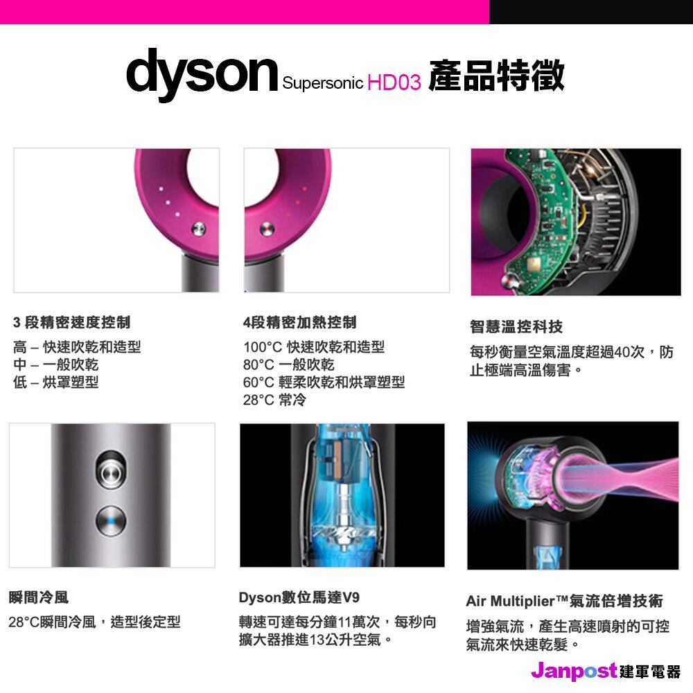 最高回饋10% 【建軍電器】原廠公司貨 Dyson HD03 吹風機 加贈 精美專用底座 Supersonic 參考HD01HD02