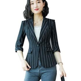 ブレザー レディ-ス ビジネス サマージャケット トップ 事務服 カジュアル ストライプ ファッション