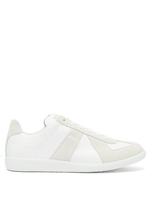 Maison Margiela - Replica Suede And Leather Trainers - Mens - White