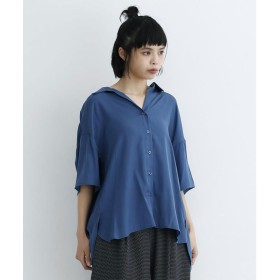 メルロー merlot オープンカラールーズシャツ (ブルー)