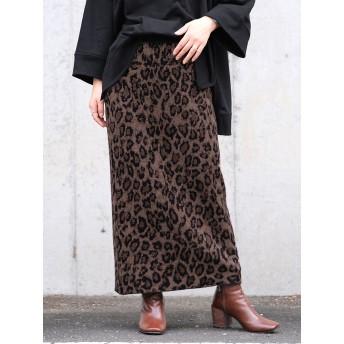 ヒョウ柄ジャガード織りニットスカート