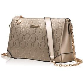 FMNEU レディースクラッチバッグ 女性のためのイブニングバッグ、財布クロスボディショルダークラッチレザーハンドバッグ耐久性に優れたエンボスチェーンメッセンジャーパッケージコンパクト絶妙 (色 : ゴールド)