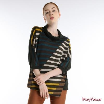 KeyWear奇威名品    趣味活潑條紋立領七分袖上衣-綠色