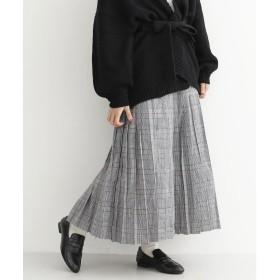 メルロー merlot チェックロングプリーツスカート (グレー)