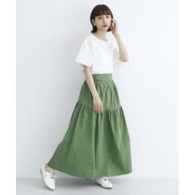 メルロー merlot 3wayコットンギャザースカート (グリーン)