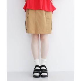 メルロー merlot ハイウエストカーゴポケットスカート (ベージュ)