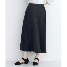 メルロー merlot 【merlot plus】フロントダブルボタンプリーツスカート (ブラック)