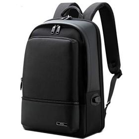 BOPAI リュックサック メンズ 革 ビジネスリュック USB充電ポート付き デーバッグ 盗難防止 防水 男女兼用 15.6インチPC対応 ブラック