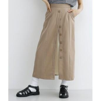メルロー merlot フロントボタンツイルプリーツ切替スカート (ベージュ)
