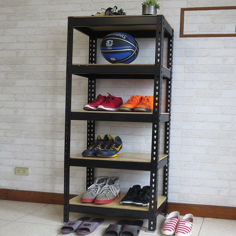 工業風櫃子 鞋櫃 鞋盒 布鞋架 玄關櫃 消光黑角鋼鞋架 (2x1x5尺_5層) 空間特工【SBB25】