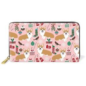 長財布 レディース 大容量 おしゃれ かわいい 財布 本革 ピンクの世界でかわいいコーギーウォレット ファスナー メンズ 女性 男女兼用 カード収納 小銭入れ プレゼント