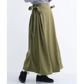 メルロー merlot サイドリボンタックスカート (カーキ)