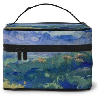 メイクポーチ 化粧ポーチ コスメバッグ バニティケース トラベルポーチ ブルー 緑 山 油絵 雑貨 小物入れ 出張用 超軽量 機能的 大容量 収納ボックス