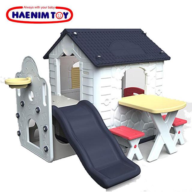 韓國【HAENIM TOY】Fun Park Kids Play House 多功能遊戲屋+溜滑梯+桌椅 HN-777 海軍藍 免運
