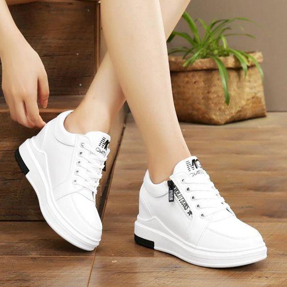 增高鞋內增高女鞋小白鞋女春季新款鬆糕厚底休閒鞋子韓版百搭運動鞋 全館免運