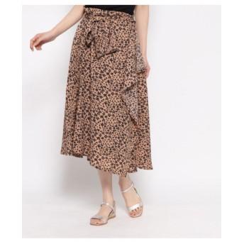 【AULI】 花柄ラッフルスカート