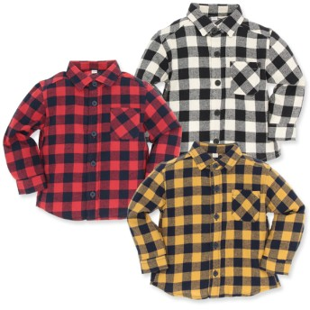 ベビートップス - 西松屋 [EFD]ビエラ格子柄ポケット付きシャツ【80cm・90cm・95cm】[男の子]