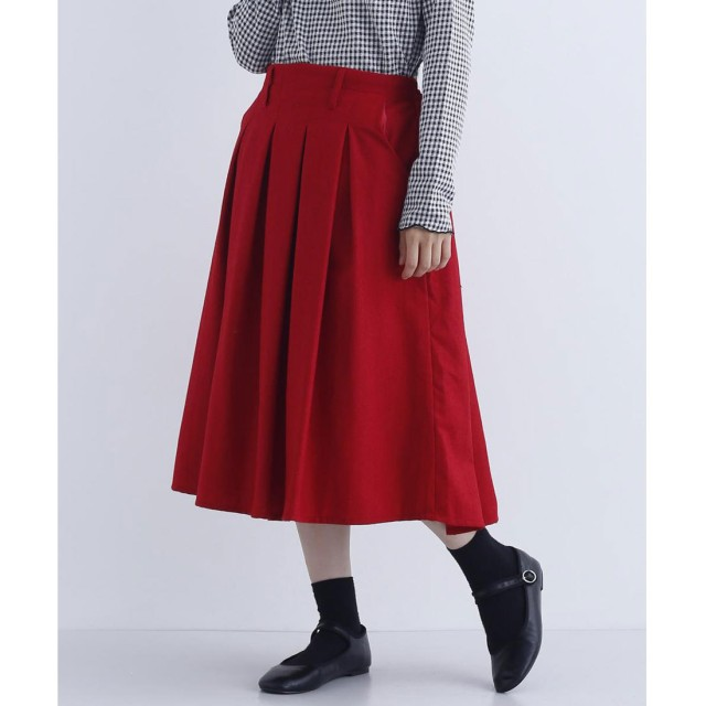 メルロー merlot ウール混ミモレ丈タックフレアスカート (レッド)