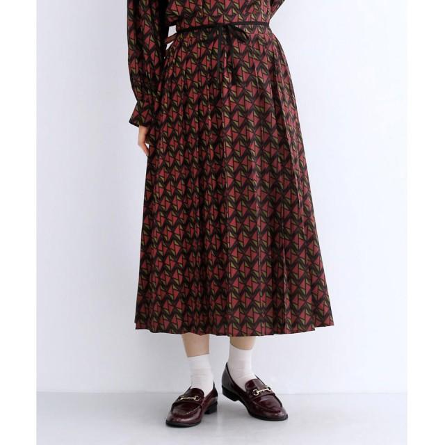 メルロー merlot 「ルーンチェック」柄ウエストリボンプリーツスカート (ピンク)