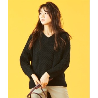 Vネック前後差柄編ニット (ニット・セーター)(レディース)Knitting, Sweater