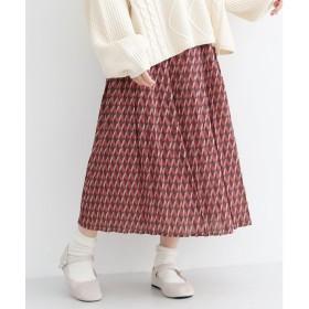 メルロー merlot 「トランプタワー」柄プリーツスカート (ピンク)