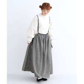 メルロー merlot ハウンドトゥースサイドリボン吊りスカート (ブラック)
