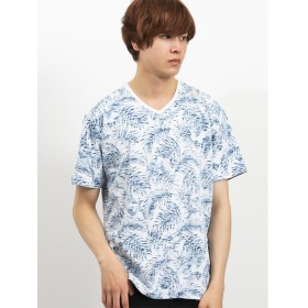 【33%OFF】 タカキュー スラブ天竺裏総柄Vネック半袖Tシャツ メンズ ブルー M 【TAKA-Q】 【セール開催中】
