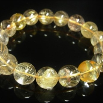 お試し価格 一点物 ゴールド タイチンルチル ブレスレット 金針水晶 天然石 数珠 13 14ミリ R55 シラー