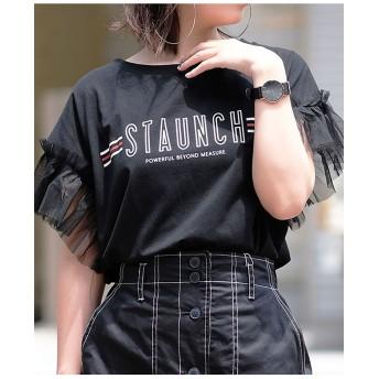 袖フリルチュール切り替えラインロゴTシャツ