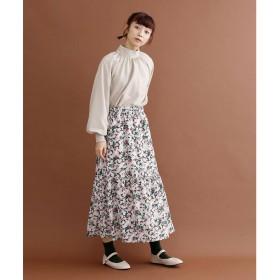メルロー merlot 「マジシャンのバラ」柄フレアヘムスカート (ブラウン)